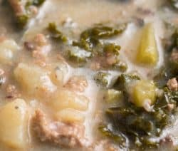 Instant pot zuppa Toscana recipe. Very popular Italian soup with sausages, potatoes, and kale cooked in an electric instant pot. #instantpot #pressurecooker #soup #dinner #homemade #yummy #italian