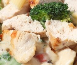 Slow cooker chicken divan casserole recipe. Cubed chicken breasts with broccoli florets and creamy sauce cooked in a slow cooker. This rich, homemade sherry-based sauce nicely complements tender chicken breasts. #slowcooker #crockpot #chicken #casserole #ceamy #homemade #dinner