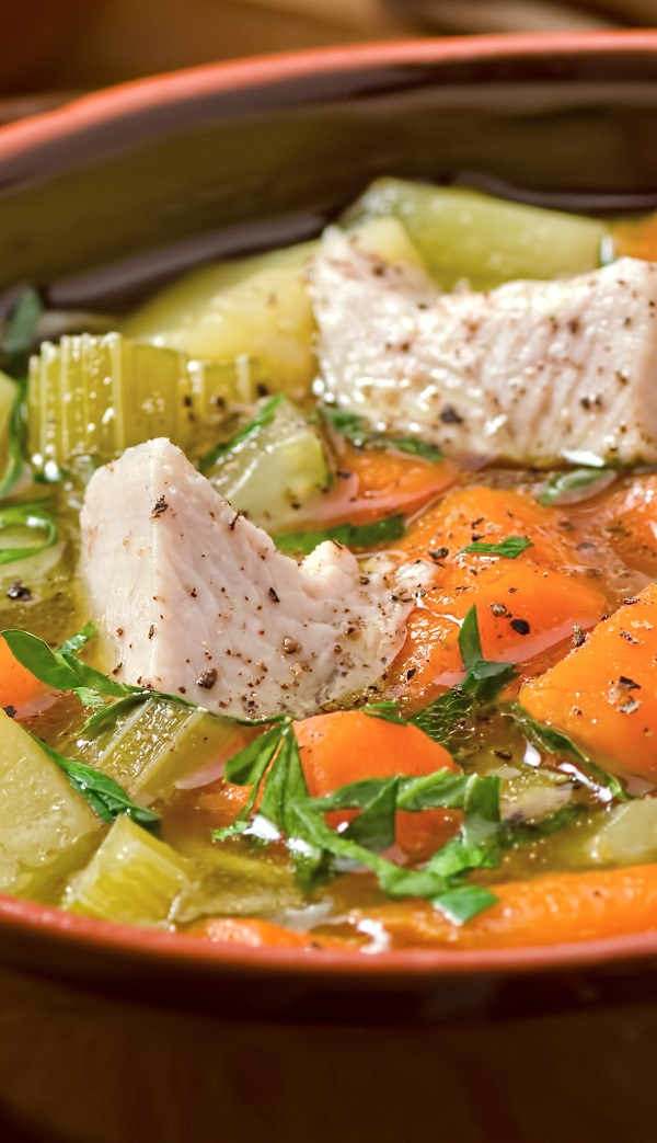 Slow cooker easy turkey soup recipe. Turkey with vegetables, tarragon, and Dijon mustard cooked in a slow cooker. Very easy and tasty. #slowcooker #crockpot #soup #dinner #turkey #vegetales