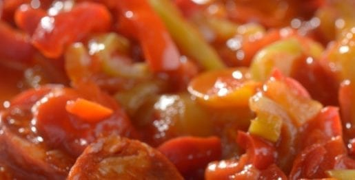 Slow cooker melt-in-your-mouth sausages. Sweet Italian sausages with vegetables cooked in a slow cooker, #slowcooker #crockpot #dinner #sausages #homemade #yummy