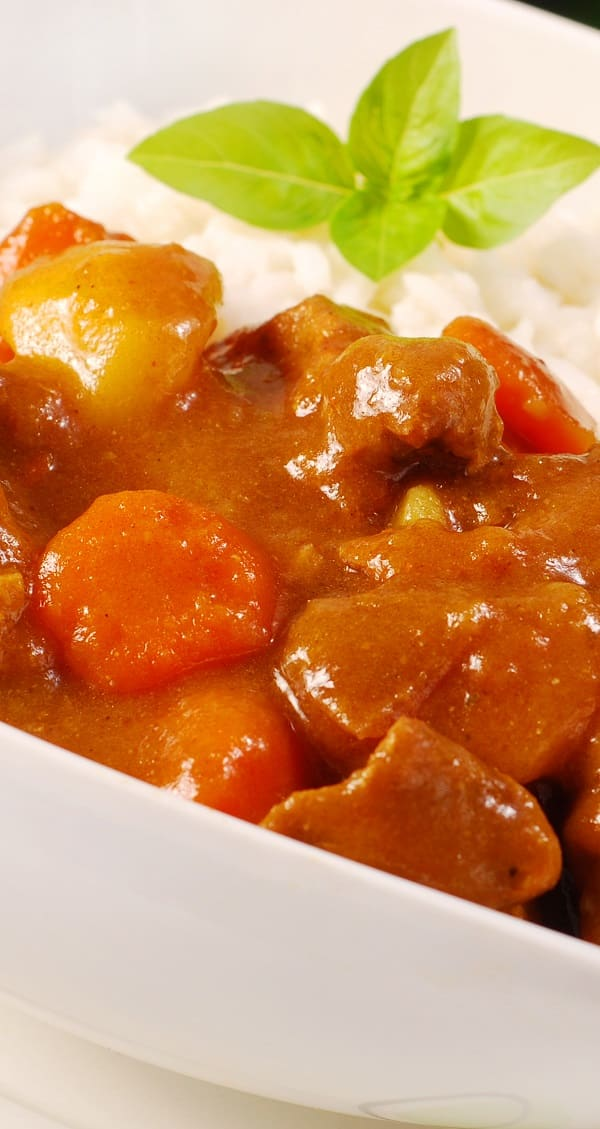 Slow cooker curried pork. Cubed pork shoulder with vegetables and curry cooked in a slow cooker. Easy and delicious. #slowcooker #crockpot #dinner #pork #homemade #easy