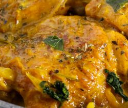 Slow cooker curry-Dijon chicken. Chicken thighs with Dijon mustard, honey, and curry powder cooked in slow cooker. Easy and delicious Indian recipe. #slowcooker #crockpot #chicken #dinner #indian #spicy #magicskilletrecipes