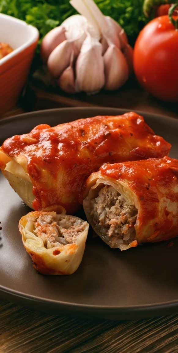 Slow cooker stuffed cabbage. Rice and beef-stuffed cabbage cooked in a slow cooker. Very easy and delicious slow cooker recipe. Slowcooker #crockpot #cabbage #dinner #homemade #easy