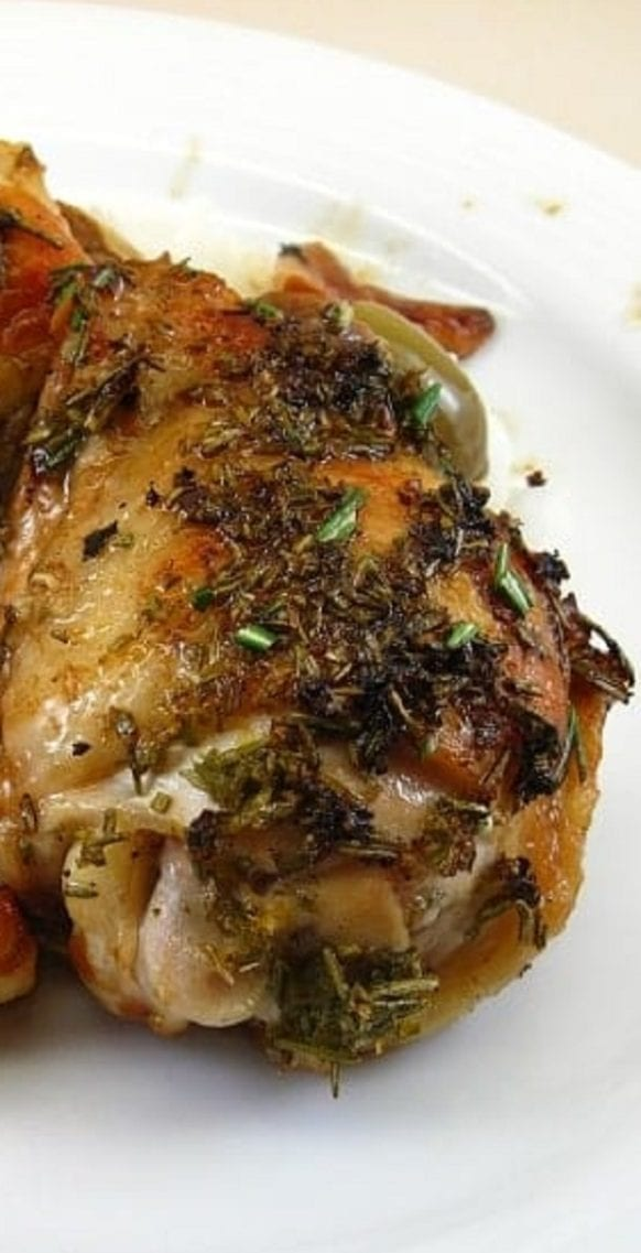 Pressure cooker chicken thighs recipe. Chicken thighs with green olives, herbs, and vegetables cooked in the pressure cooker. Very easy and delicious. #pressurecooker #instantpot #dinner #chicken #homemade