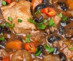 Slow cooker chicken black beans stew recipe. Cubed chicken breasts with black beans, vegetables, and spices cooked in the slow cooker. #slowcooker #crockpot #chicken #dinner #stew