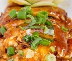 Slow cooker honey glazed chicken recipe. Chicken breasts with soy sauce, honey, and spices cooked in a slow cooker. #slowcooker #crockpot #chicken #asian #dinner