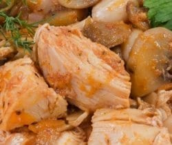 Slow cooker chicken with white beans and mushrooms. Chicken breasts with mushrooms and cannellini beans cooked in a slow cooker. #slowcooker #crockpot #chicken #recipe #dinner