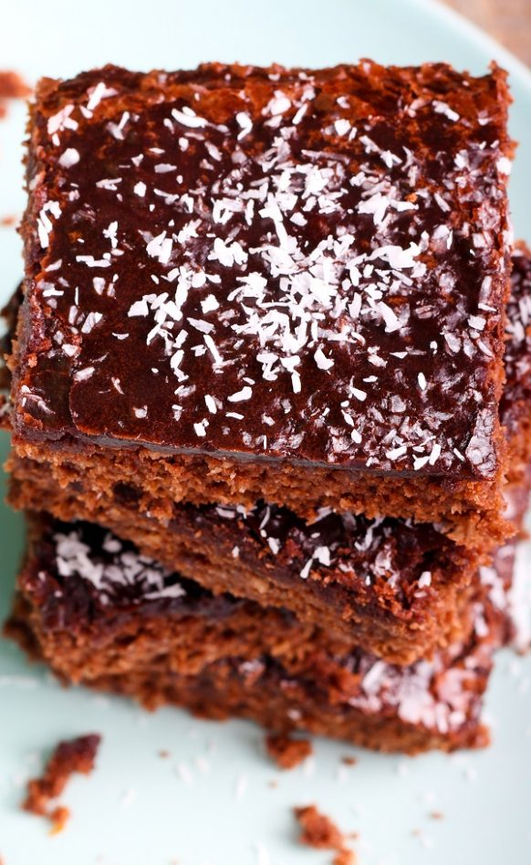 Air fryer chocolate coconut brownies recipe. Easy and delicious dessert cooked in an air fryer. #airfryer #chocolate #brownies #desserts #breakfast