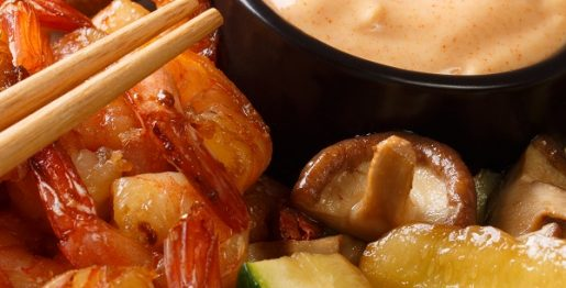 Air fryer Hibachi shrimp recipe. Learn how to cook yummy Japanese shrimp and vegetables in an air fryer. #airfryer #japanese #dinner #lunch #healthy #seafood #shrimp