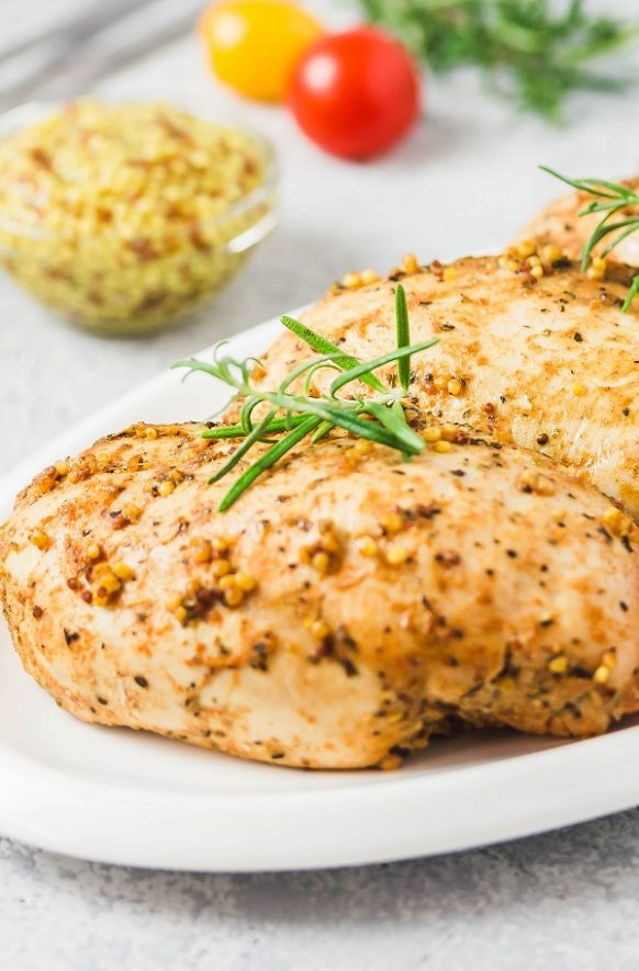 Instant pot honey mustard chicken breasts recipe. Boneless chicken breasts with honey and spices cooked in an electric instant pot. #instantpot #pressurecooker #chicken #dinner #lunch #recipes #cooking #food