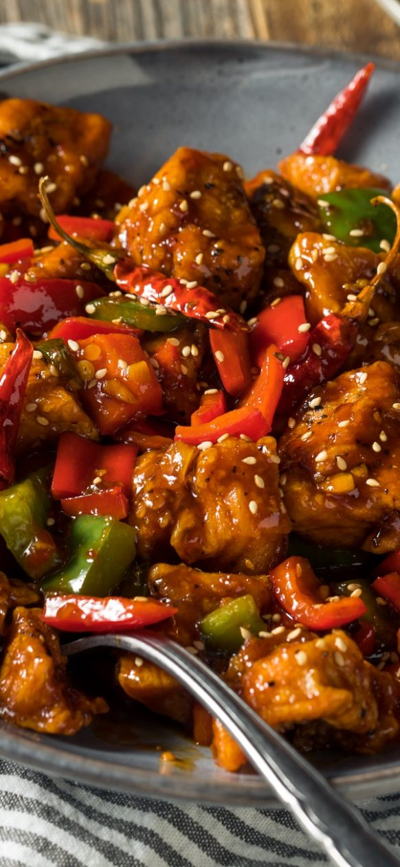 Air fryer Szechuan chicken recipe. Learn how to cook yummy Chinese chicken in an air fryer. #airfreyr #chicken #dinner #delicious #easy #oven