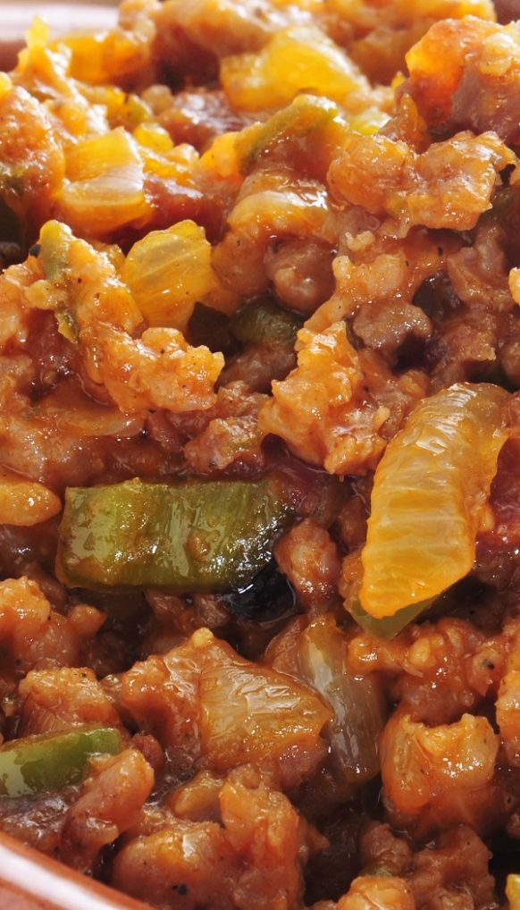 Slow cooker Picadillo stew recipe. Ground beef with vegetables and spices cooked in a slow cooker. Delicious Spanish and Latin American recipe! #slowcooker #crockpot #dinner #stew #spanish #american